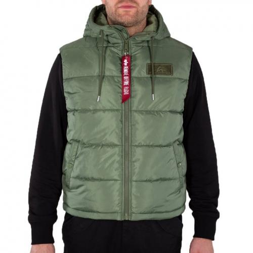 Alpha Industries Hooded Puffer Vest FD Sage Green