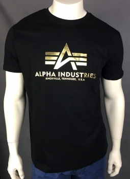 Alpha Industries Basic T-Shirt Foil Print Black/Yellow Gold