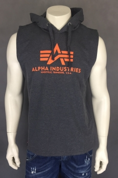 Alpha Industries Basic Hooded Tank Charcoal Heather