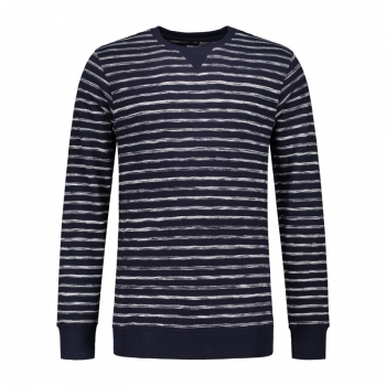 Dstrezzed Crew Uneven Stripe Dark Navy / Off White