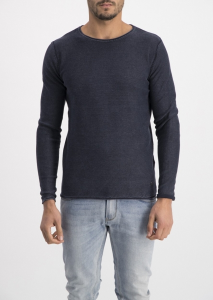 Dstrezzed Pullover Crew Acid Stripe Dark Navy