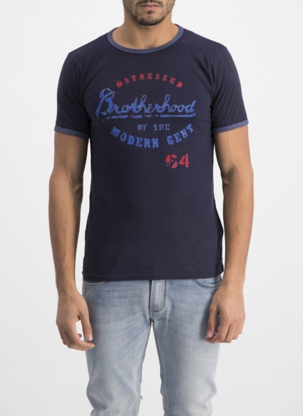 Dstrezzed T-Shirt Brotherhood Graphic Dark Navy