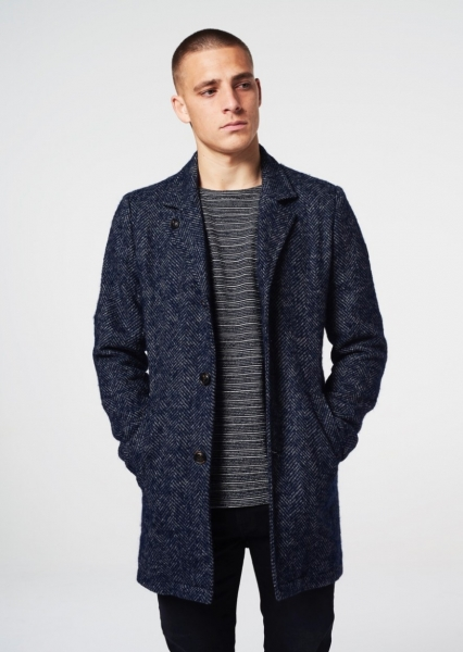 Dstrezzed Long Coat Herringbone Wool